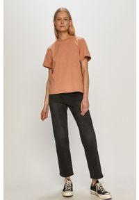 Dr. Denim - T-shirt. Kolor: różowy. Materiał: denim. Wzór: gładki