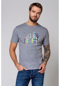 Szary t-shirt Lancerto z klasycznym kołnierzykiem, z nadrukiem