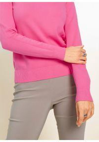 Różowy sweter bonprix z długim rękawem, długi