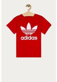 Czerwona bluzka z krótkim rękawem adidas Originals z nadrukiem, na co dzień, casualowa