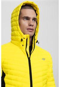 Żółta kurtka puchowa 4f na zimę, ze stójką