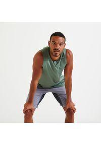 DOMYOS - Koszulka fitness męska Domyos bez rękawów. Materiał: poliester, materiał, elastan. Długość rękawa: bez rękawów