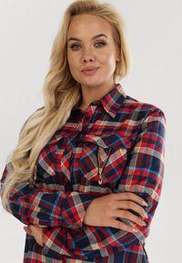 Born2be - Czerwono-Beżowa Koszula Yservienne. Kolor: czerwony