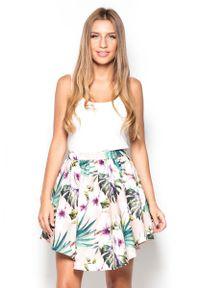Biała spódnica Katrus w kwiaty