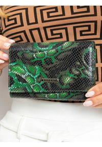 LORENTI - Portfel damski skórzany RFID Lorenti 76112-MSN zielony. Kolor: zielony. Materiał: skóra