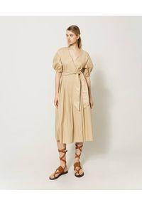 Beżowa sukienka TwinSet midi, klasyczna, asymetryczna