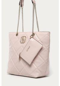 Różowa shopperka Guess duża, na ramię