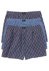 Luźniejsze bokserki z dżerseju (3 pary) bonprix niebieski dżins melanż z nadrukiem. Kolor: czerwony. Materiał: jersey. Wzór: melanż, nadruk