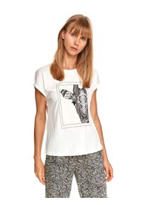 TOP SECRET - Bawełniany t-shirt z nadrukiem. Kolor: biały. Materiał: bawełna. Długość rękawa: krótki rękaw. Długość: krótkie. Wzór: nadruk. Sezon: lato. Styl: klasyczny, wakacyjny