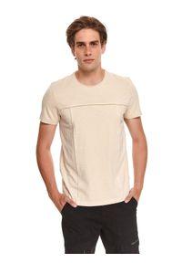 TOP SECRET - T-shirt męski z przeszyciami. Kolor: beżowy. Materiał: bawełna, tkanina. Długość rękawa: krótki rękaw. Długość: krótkie. Sezon: lato. Styl: wakacyjny