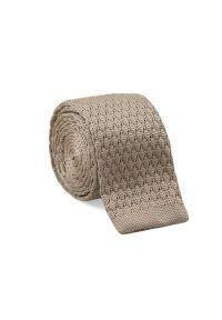 Beżowy, Jednokolorowy, Dziergany Krawat Typu Knit - 5,5 cm - Alties. Kolor: beżowy, brązowy, wielokolorowy. Materiał: poliester. Styl: sportowy