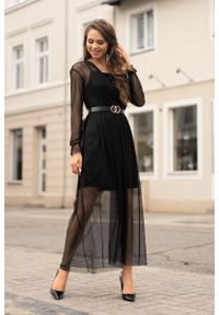 Merribel - Elegancka Maxi Sukienka z Paskiem - Czarna. Kolor: czarny. Materiał: poliester, elastan. Styl: elegancki. Długość: maxi