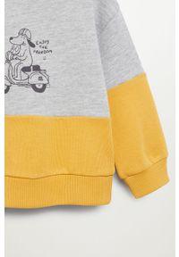 Szara bluza Mango Kids casualowa, krótka, z nadrukiem
