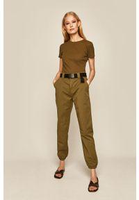 Zielone spodnie materiałowe medicine na co dzień, casualowe