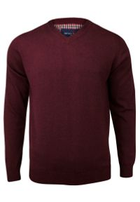 Czerwony sweter Adriano Guinari z dekoltem w serek, do pracy, elegancki