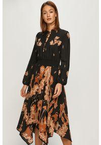 Czarna sukienka Desigual z długim rękawem, casualowa