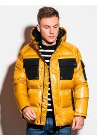 Ombre Clothing - Kurtka męska zimowa C457 - żółta - XXL. Kolor: żółty. Materiał: poliester. Wzór: aplikacja. Sezon: zima