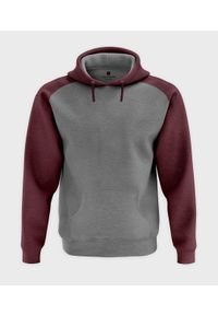 MegaKoszulki - Męska bluza dwukolorowa (bez nadruku, gładka) - burgundowa. Kolor: czerwony. Wzór: gładki