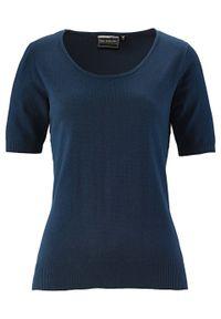 Niebieski sweter bonprix krótki, z okrągłym kołnierzem, z krótkim rękawem