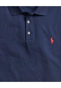 Ralph Lauren - RALPH LAUREN - Granatowa koszulka polo Slim Fit Stretch Mesh. Typ kołnierza: polo. Kolor: niebieski. Materiał: mesh. Wzór: ze splotem, haft, aplikacja. Styl: klasyczny