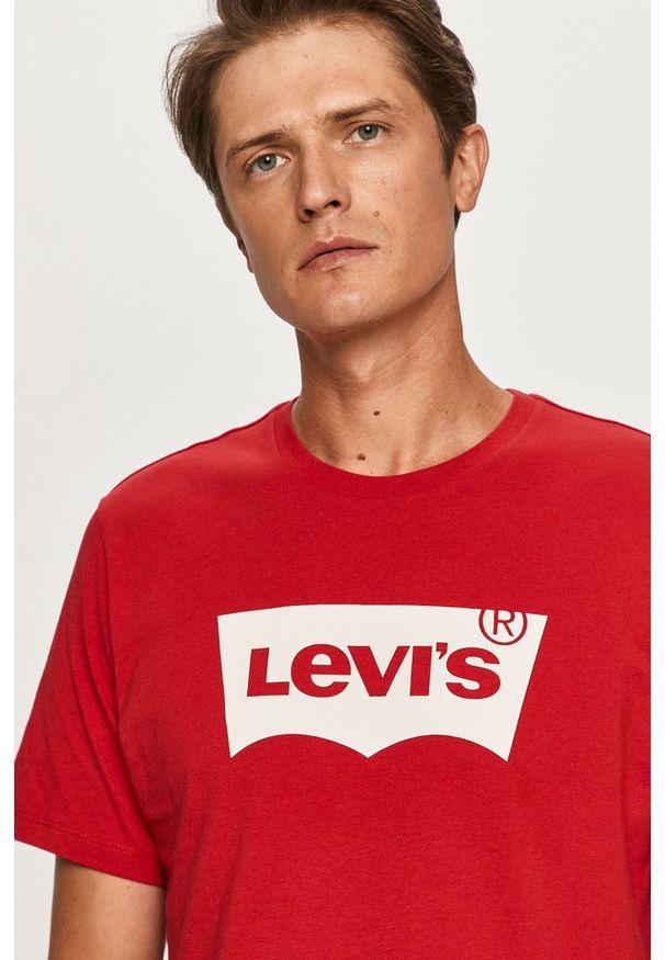 Czerwony t-shirt Levi's® w kolorowe wzory, z okrągłym kołnierzem