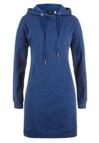 Sukienka dresowa z kapturem bonprix kobaltowy. Typ kołnierza: kaptur. Kolor: niebieski. Materiał: dresówka