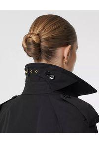 Burberry - BURBERRY - Czarny trencz z wzorem lamparta. Kolor: czarny. Materiał: szyfon, materiał. Wzór: aplikacja, nadruk. Styl: klasyczny #5