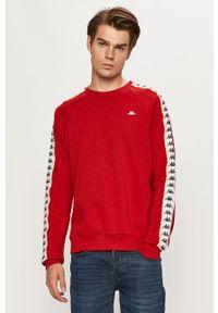 Czerwona bluza nierozpinana Kappa z okrągłym kołnierzem, raglanowy rękaw, z aplikacjami, na co dzień