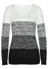 Długi sweter Premium z kaszmirem bonprix biel wełny - czarny melanż. Kolor: biały. Materiał: kaszmir, wełna. Długość: długie. Wzór: melanż