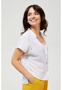 Biała koszula MOODO bez kołnierzyka, z krótkim rękawem, krótka