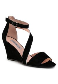 Czarne sandały Libero na obcasie, na średnim obcasie, casualowe