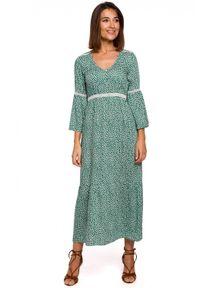 Style - Romantyczna sukienka 7/8 w drobne kwiaty BOHO. Materiał: koronka. Wzór: kwiaty. Styl: boho. Długość: maxi