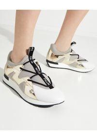 Pollini - POLLINI - Szare sneakersy ze złotym detalem. Zapięcie: bez zapięcia. Kolor: szary. Materiał: jeans, materiał. Wzór: aplikacja