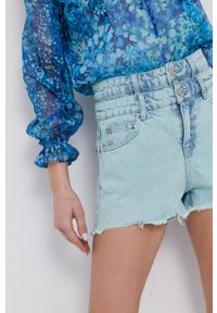 Miss Sixty - Szorty jeansowe. Okazja: na co dzień. Stan: podwyższony. Kolor: turkusowy. Materiał: jeans. Styl: casual