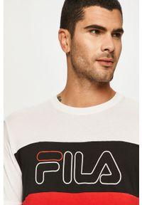 Biały t-shirt Fila casualowy, z okrągłym kołnierzem, z nadrukiem, na co dzień
