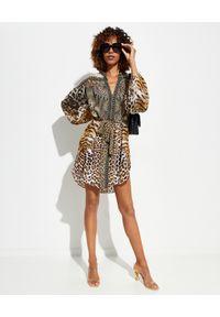 Camilla - CAMILLA - Tunika we wzór Cathedral. Kolor: brązowy. Materiał: jedwab. Wzór: motyw zwierzęcy, aplikacja. Typ sukienki: koszulowe. Długość: mini