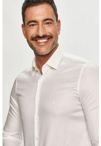 Biała koszula Calvin Klein z długim rękawem, długa