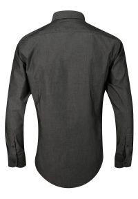 Chiao - Popielata Koszula Męska z Długim Rękawem, 100% Bawełna -CHIAO- Taliowana, Jednokolorowa. Okazja: do pracy, na spotkanie biznesowe. Kolor: szary. Materiał: bawełna. Długość rękawa: długi rękaw. Długość: długie. Wzór: aplikacja. Styl: biznesowy, elegancki #2