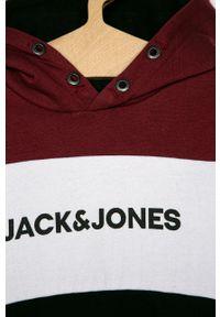Brązowa bluza Jack & Jones z kapturem, na co dzień, z nadrukiem, casualowa