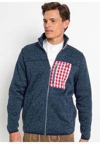 Bluza rozpinana z polaru w ludowym stylu bonprix ciemnoniebieski melanż. Kolor: niebieski. Materiał: polar. Wzór: melanż