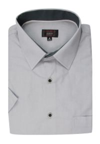 Szara elegancka koszula Jurel do pracy, z krótkim rękawem, krótka
