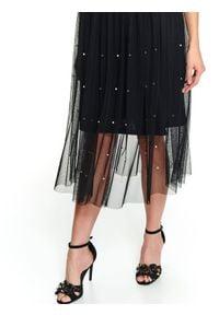 TOP SECRET - Plisowana tiulowa spódnica z perłami. Kolor: czarny. Materiał: tiul. Długość: krótkie. Sezon: zima, jesień. Styl: elegancki