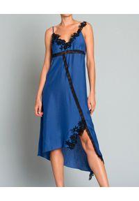 Pinko - PINKO - Bieliźniana sukienka. Kolor: niebieski. Materiał: koronka. Długość rękawa: na ramiączkach. Wzór: aplikacja. Typ sukienki: asymetryczne. Długość: midi