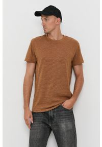 Tom Tailor - T-shirt. Kolor: brązowy. Materiał: dzianina
