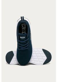 Niebieskie sneakersy Kappa z okrągłym noskiem, z cholewką, na sznurówki