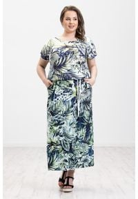 Zielona sukienka Moda Size Plus Iwanek oversize, z krótkim rękawem