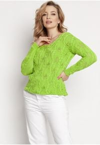MKM - Kobiecy Ażurowy Sweter - Zielony. Kolor: zielony. Materiał: bawełna, akryl. Wzór: ażurowy