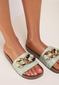 Renee - Miętowe Klapki Leucoche. Nosek buta: otwarty. Kolor: miętowy. Materiał: guma. Wzór: aplikacja