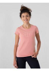 4f - T-shirt regular z nadrukiem damski. Kolor: różowy. Materiał: bawełna, dzianina. Wzór: nadruk