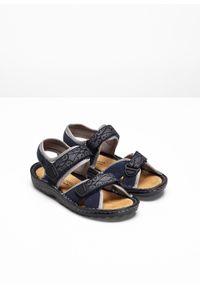 Wygodne sandały trekkingowe z elementami ze skóry bonprix ciemnoniebieski. Kolor: niebieski. Materiał: skóra